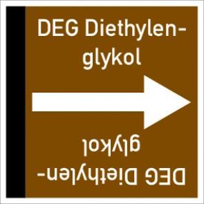Rohrleitungskennzeichnung viereckig DEG Diethylenglykol · Aluminium-Schild