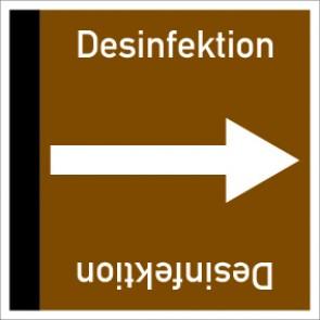 Rohrleitungskennzeichnung viereckig Desinfektion · Aluminium-Schild