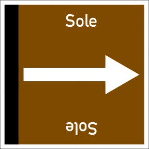 Rohrleitungskennzeichnung viereckig Sole · Aluminium-Schild