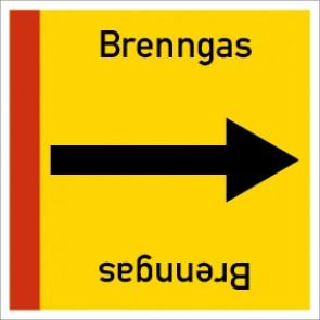 Rohrleitungskennzeichnung viereckig Brenngas · Aluminium-Schild