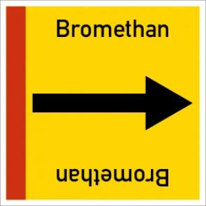 Rohrleitungskennzeichnung viereckig Bromethan · Aluminium-Schild