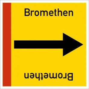 Rohrleitungskennzeichnung viereckig Bromethen · Aluminium-Schild