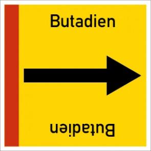 Rohrleitungskennzeichnung viereckig Butadien · Aufkleber