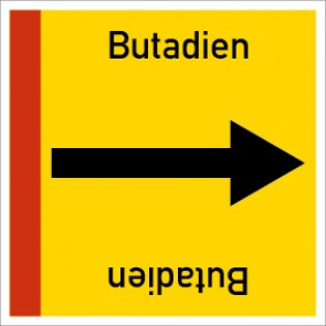 Rohrleitungskennzeichnung viereckig Butadien · Aluminium-Schild