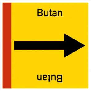 Rohrleitungskennzeichnung viereckig Butan · Aluminium-Schild