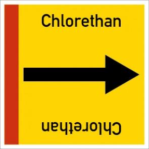 Rohrleitungskennzeichnung viereckig Chlorethan · Aluminium-Schild