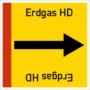 Rohrleitungskennzeichnung viereckig Erdgas HD · Aluminium-Schild