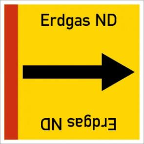 Rohrleitungskennzeichnung viereckig Erdgas ND · Aluminium-Schild