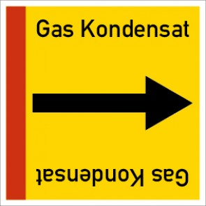 Rohrleitungskennzeichnung viereckig Gas Kondensat · Aluminium-Schild