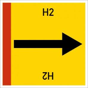 Rohrleitungskennzeichnung viereckig H2 · Aluminium-Schild