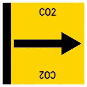Rohrleitungskennzeichnung viereckig CO2 · Aufkleber