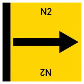 Rohrleitungskennzeichnung viereckig N2 · Aufkleber