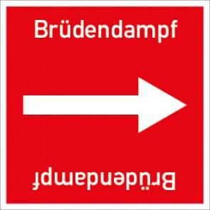 Rohrleitungskennzeichnung viereckig Brüdendampf · Aluminium-Schild