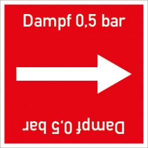 Rohrleitungskennzeichnung viereckig Dampf 0,5 bar · Aluminium-Schild
