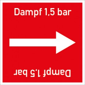 Rohrleitungskennzeichnung viereckig Dampf 1,5 bar · Aluminium-Schild