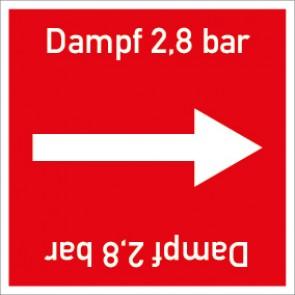 Rohrleitungskennzeichnung viereckig Dampf 2,8 bar · Aluminium-Schild