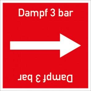 Rohrleitungskennzeichnung viereckig Dampf 3 bar · Aluminium-Schild