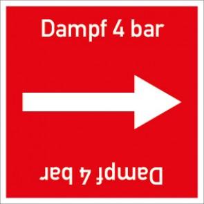 Rohrleitungskennzeichnung viereckig Dampf 4 bar · Aluminium-Schild