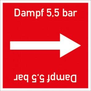Rohrleitungskennzeichnung viereckig Dampf 5,5 bar · Aluminium-Schild
