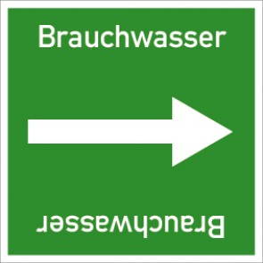 Rohrleitungskennzeichnung viereckig Brauchwasser · Aluminium-Schild