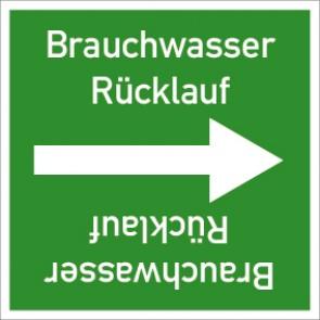 Rohrleitungskennzeichnung viereckig Brauchwasser Rückl. · Aluminium-Schild