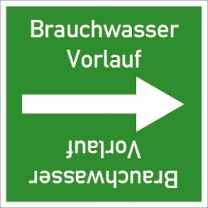 Rohrleitungskennzeichnung viereckig Brauchwasser Vorlauf · Aluminium-Schild