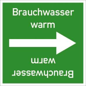 Rohrleitungskennzeichnung viereckig Brauchwasser warm · Aluminium-Schild
