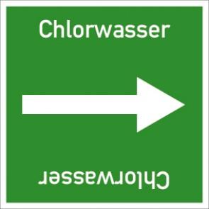 Rohrleitungskennzeichnung viereckig Chlorwasser · Aluminium-Schild