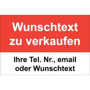 """Aufkleber """"Wunschtext zu verkaufen"""" · rot"""