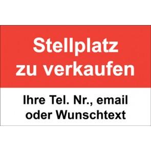 """Aufkleber """"Stellplatz zu verkaufen"""" · rot"""