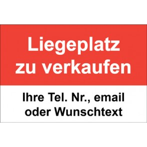 """Schild   Plane """"Liegeplatz zu verkaufen"""" · rot"""