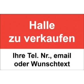 """Schild   Plane """"Halle zu verkaufen"""" · rot"""