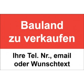 """Schild   Plane """"Bauland zu verkaufen"""" · rot"""