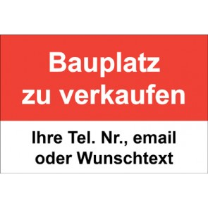"""Magnetschild """"Bauplatz zu verkaufen""""  (Magnetfolie)"""
