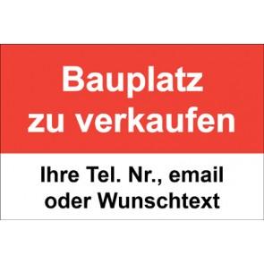 """Schild   Plane """"Bauplatz zu verkaufen"""" · rot"""