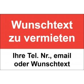 """Aufkleber """"Wunschtext zu vermieten"""" · rot"""