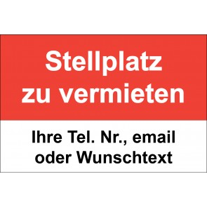 """Aufkleber """"Stellplatz zu vermieten"""" · rot"""