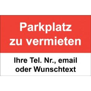 """Magnetschild """"Parkplatz zu vermieten""""  (Magnetfolie)"""