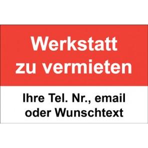 """Magnetschild """"Werkstatt zu vermieten""""  (Magnetfolie)"""