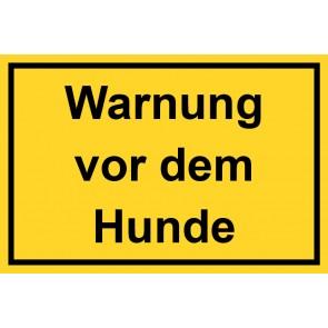 Schild Warnung vor dem Hunde | gelb