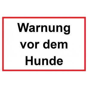 Aufkleber Warnung vor dem Hunde   weiß · rot