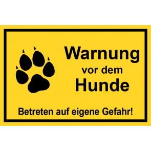 Schild Warnung vor dem Hunde Betreten auf eigene Gefahr | gelb