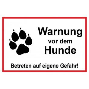 Aufkleber Warnung vor dem Hunde Betreten auf eigene Gefahr | weiß · rot