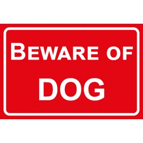Schild Beware of Dog | rot