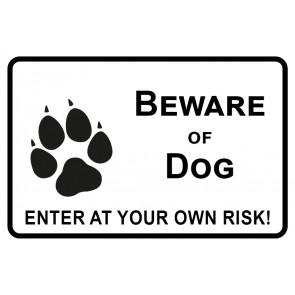 Aufkleber Beware of Dog · Enter of your own risk   weiß