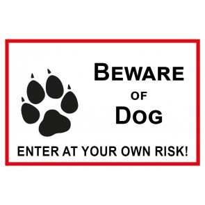 Schild Beware of Dog · Enter of your own risk | weiß | rot
