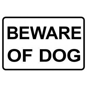 Schild Beware of Dog | weiß