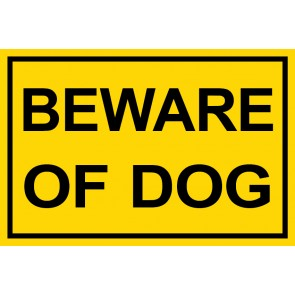 Schild Beware of Dog | gelb