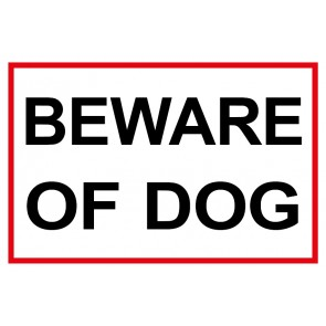 Schild Beware of Dog | weiß | rot