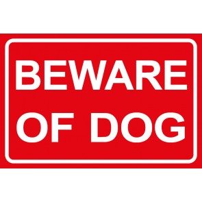 Aufkleber Beware of Dog | rot